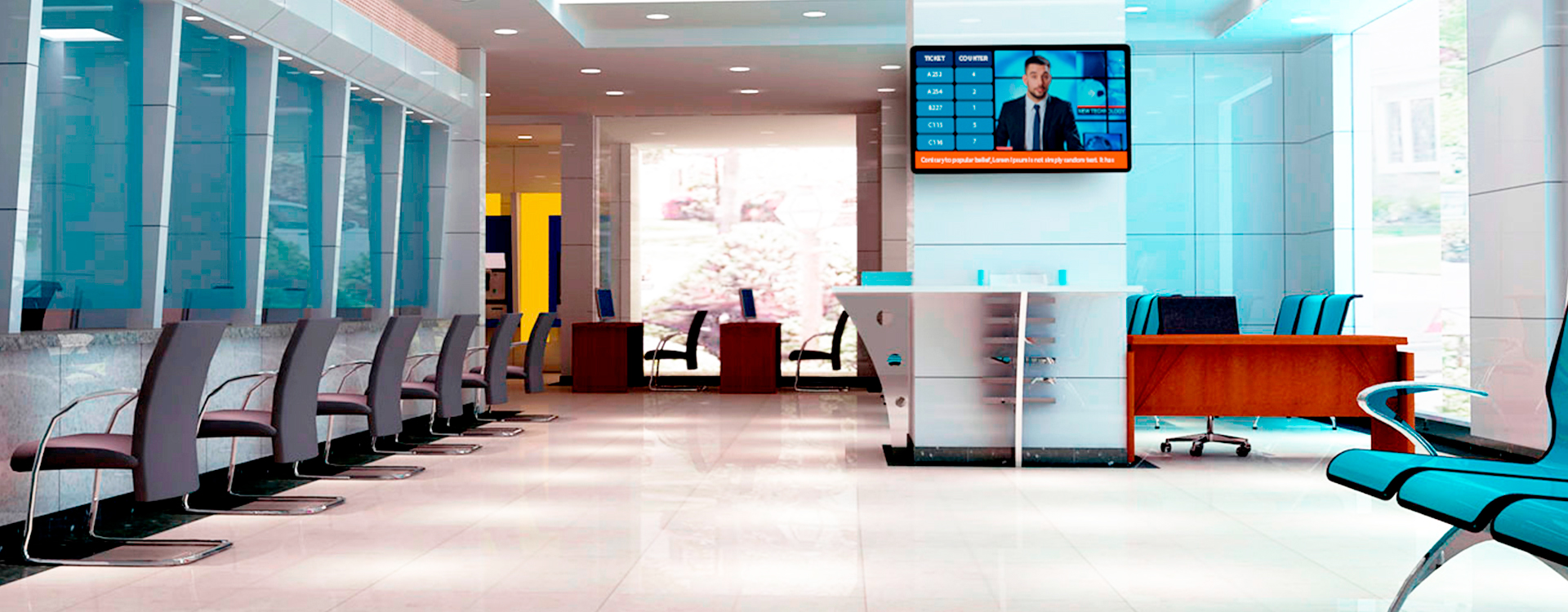 digital signage display in bank
