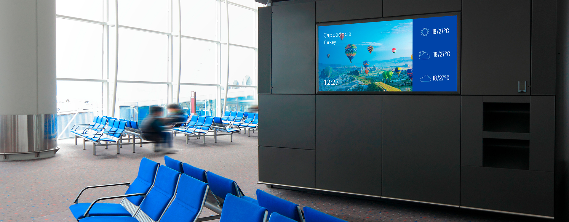 digital signage display in airport