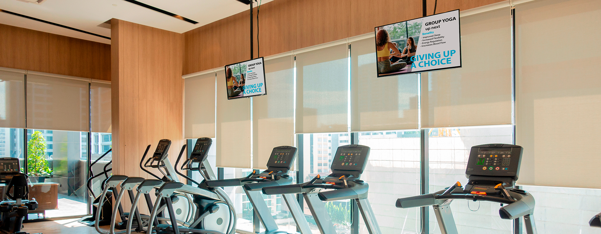 digital signage displays in gym